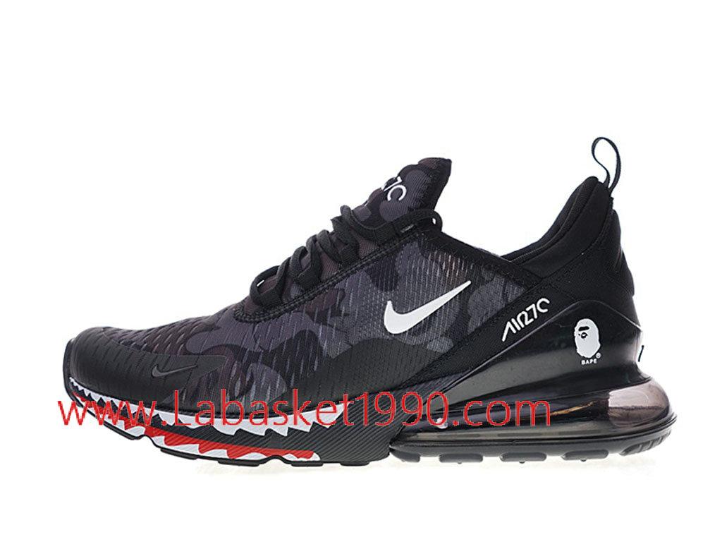90ca466f5eee A Bathing APE x Nike Air Max 270 Chaussures Officiel 2018 Pas Cher Pour  Homme Noir ...