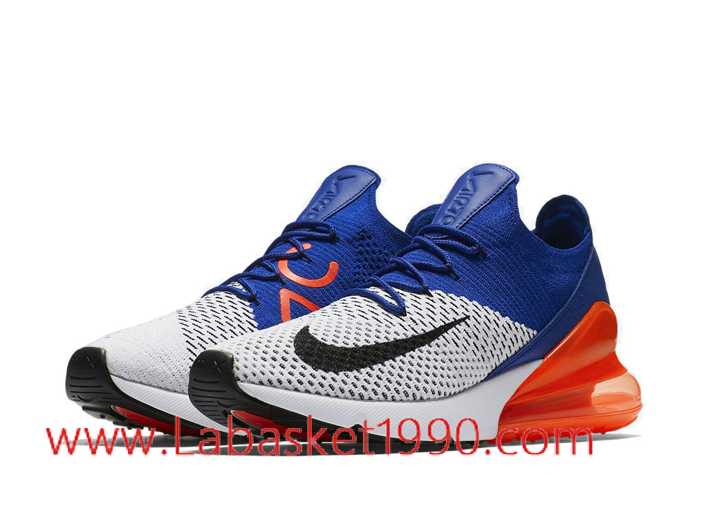 ... Nike Air Max 270 Flyknit Chaussures de Running Nike Pas Cher Pour Homme Bleu Blanc Orange ...