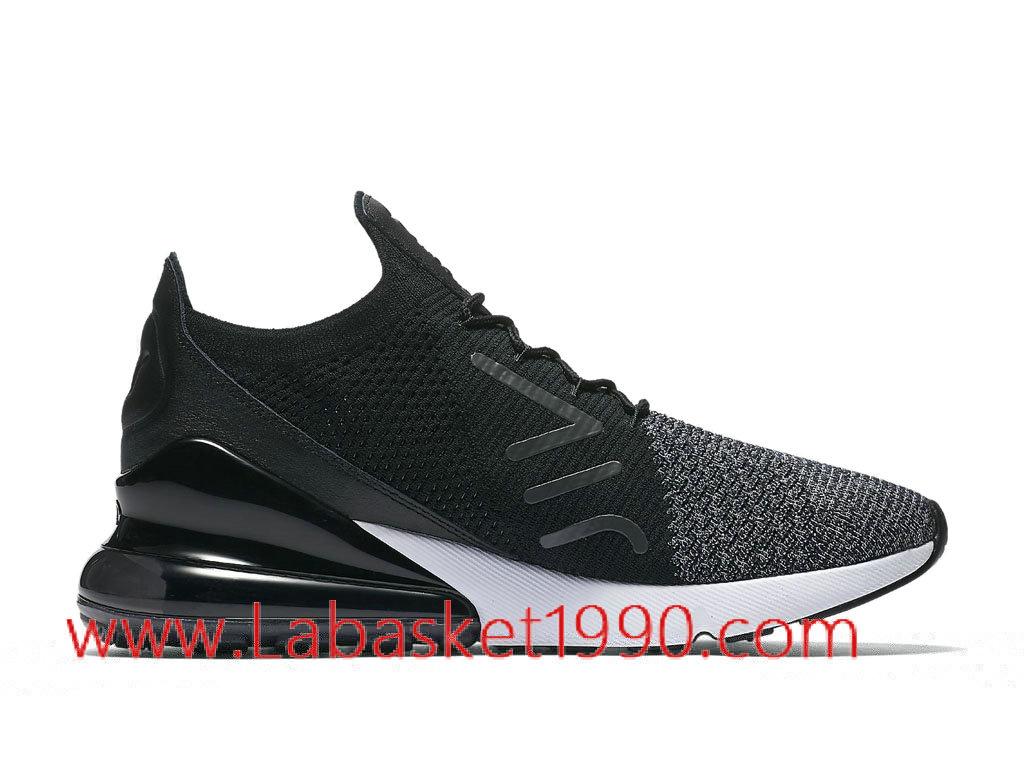 ... Nike Air Max 270 Flyknit Chaussures de Running Nike Pas Cher Pour Homme Noir Blanc AO1023 ...