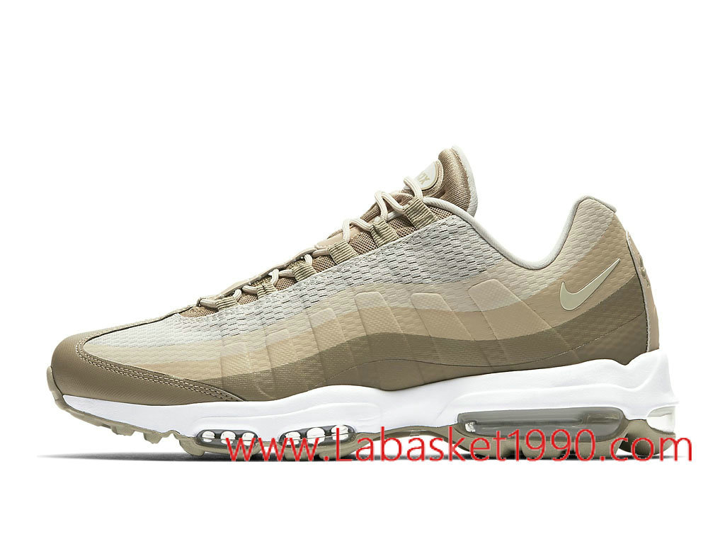 finest selection b87b2 a4f5c Nike Air Max 95 Ultra Essential 857910 200 Chaussures Nike Prix Pas Cher  Pour Homme Blanc Brun ...
