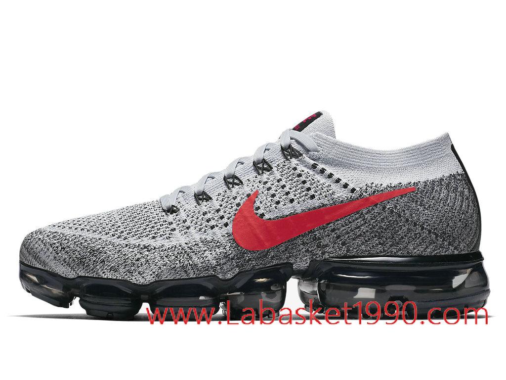 the latest ed3ea fb8d9 Nike Air VaporMax Flyknit 849558-020 Chaussures de BasketBall Pas Cher Pour  Homme Gris Rouge