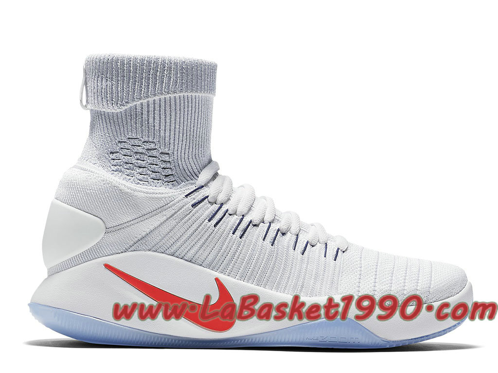 046aa493c2d0 Nike Hyperdunk 2016 Flyknit 843390-146 Chaussures Nike Basket Pas Cher Pour  Homme Blanc Rouge ...